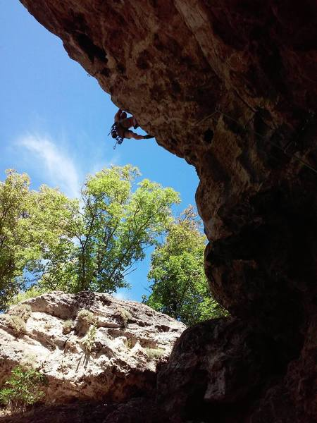 Another shot of Jeff R pulling over the Crux on Snaked (11b) at the Drone Wall.  August 2018.