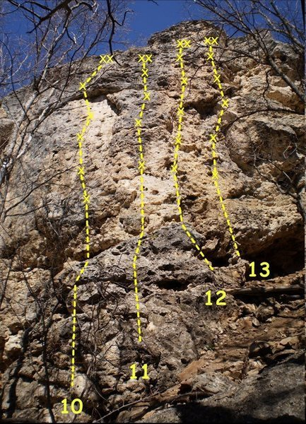 "John Ross's photo which shows the ""easy"" routes on the Drone Wall.  