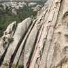The dreaded slabby angle of Mystery Bolter, 5.9/12a (photo taken from top of Dynamo Hum)