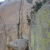 Pitch 1, 5.10d unnamed twin crack
