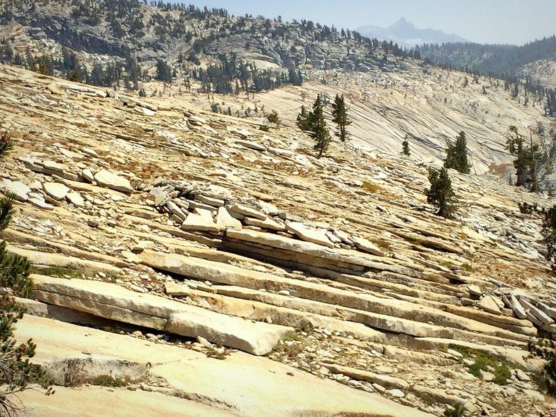 "Classic Tuolumne ""onion-skin"" plating on the descent from Tenaya Peak"