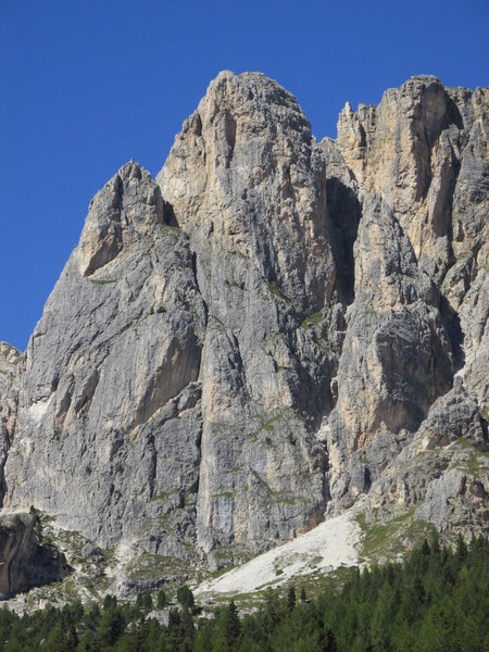 Falzarego Towers from South. Grosser Falzaregoturm is in center; Kleiner Falzaregoturm is pointed summit to left,