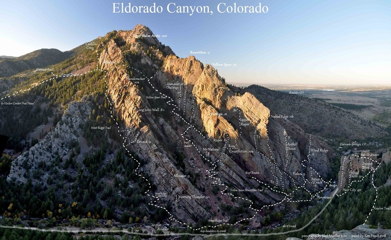 Trails and rock climbs of Eldorado Canyon.<br> <br> Karl Mueller's photo has the perfect combination of shade and clarity for painting.<br> <br> P.S. Karl put up one of my favorite Eldo climbs with Alan Nelson and Alan Bartlett.