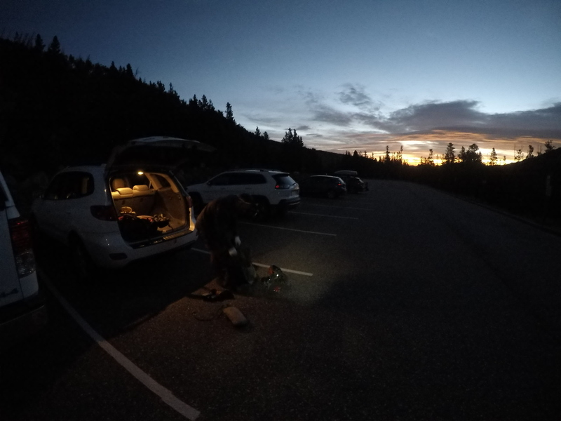 Semi-Alpine start. Left Boulder at 4:45 am. This is just before 6:00 am