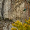 H. cruising the crux. Photo by Dean Lords.