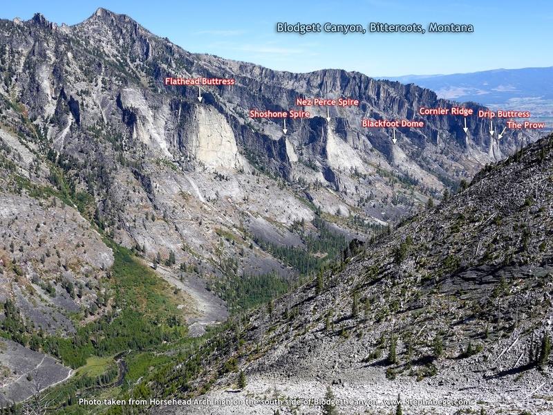 Blodgett Canyon W to E: Flathead Buttress, Shoshone Spire, Nez Perce Spire, Blackfoot Dome, Cornler Ridge, Drip Buttress, The Prow