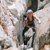Lauren partway up Laurel Mountain. The rock features lent itself very well to stemming and mantling on this route.