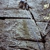 H.Barber on the first pitch (Recluse) the day of the first ascent of The Big Plum 1973