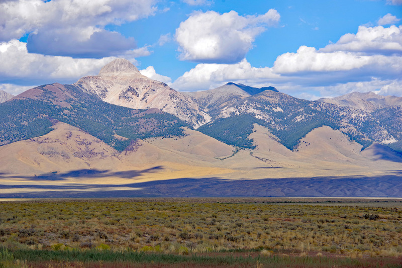 View toward Bell Mountain in the Lemhi range as you exit Pass Creek Canyon.