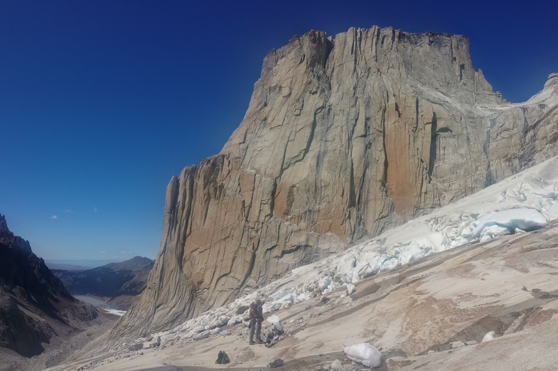 The route is on this side of El Mocho. See the long corner. Note the glacier on the approach. Lago Torre is in the back left.