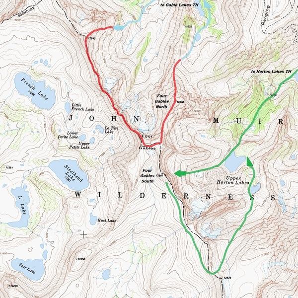 Map showing the Four Gables Massif. Approach and descent for the technical routes on Four Gables South shown in green. The Northwest Ridge (V 5th class) shown in red, with Gable Lakes approach and descent in blue.