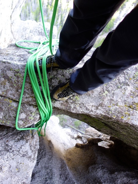 Chockstone belay at top of Pitch 3.