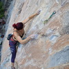 The top crux. Having just moved my L hand, I now only have my R hand on 1 of the 2 worst holds on the route.