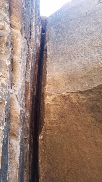 Crux of the route on third pitch.