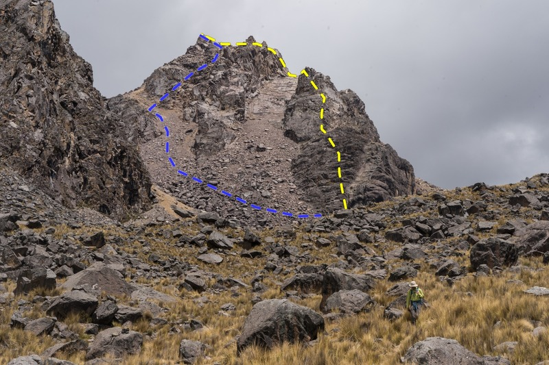 Duncan on the descent. Ascent in yellow, descent in blue.