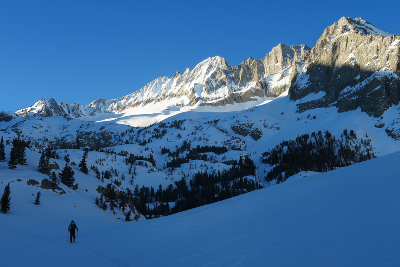 Approaching Norman Clyde Peak in the winter