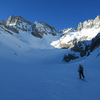 Approaching the N Couloir of Norman Clyde Peak in winter