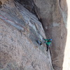Matt finishing the P4 finger crack variation right before it joins the original traverse.