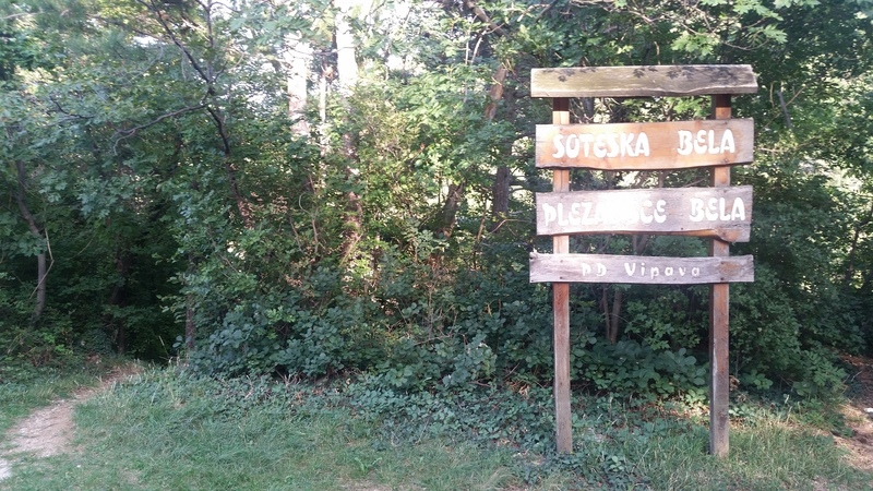The roadside sign at the Bella parking area. The trail to the cliffs is at the left edge of the photo and descends a steep, wooden stairway.