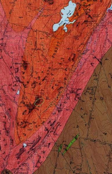 State geologist report map of rock types and areas of exposed bedrock/ledge