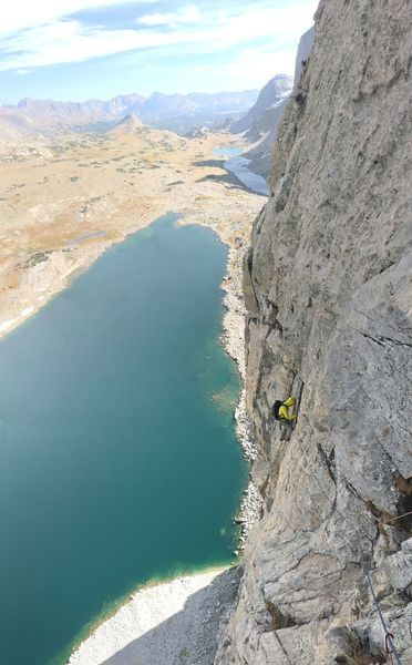 Our 9th pitch of the E. Buttress of Raid.  Sept. 2018