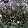 the base of flying buttress with all the down trees. lost & found starts just to the right.