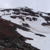 South Sister North Face from the Skinner Glacier, L to R Silver Couloir, North Face Couloir, and the North Face of the NW Ridge. The left skyline is the North Ridge. The right skyline is the NW Ridge. Taken May 2018 with less than expected snow coverage.