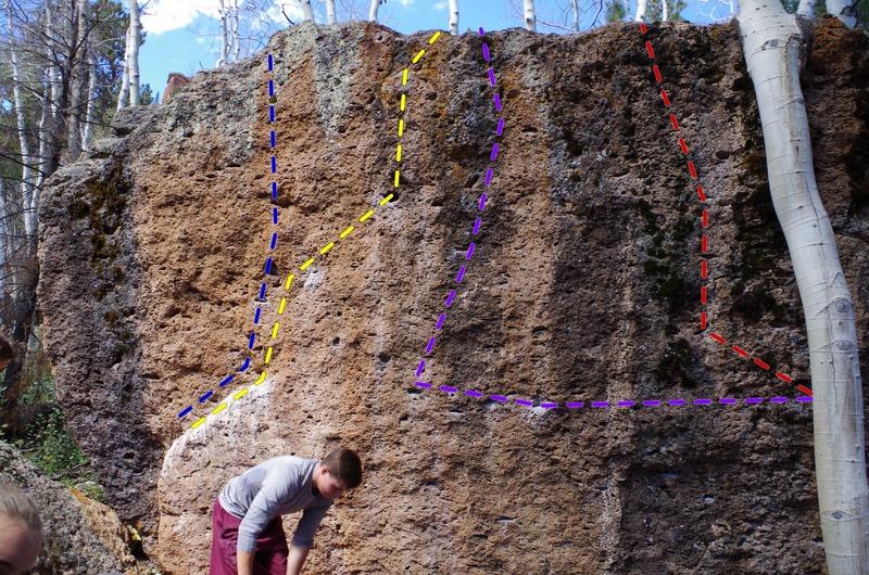 Warm up boulder<br> Debunk Variation V1 (Blue)<br> Debunk V1 (Yellow)<br> Delirious (Purple)<br> Demential  (Red)