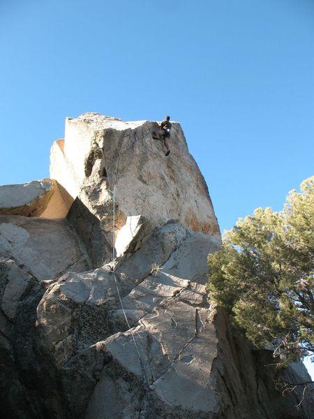 Railing to the anchors on Palm Pilot (5.10b), Onyx Summit Crag