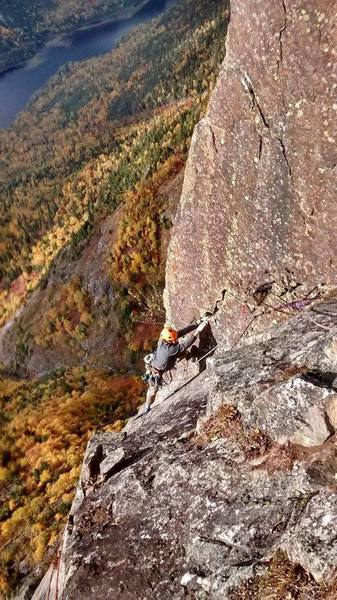 Topping out the last hard pitch of : La farouche