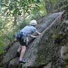 Tom on P1's semi-crux move (The Edge, Brown's Ridge)