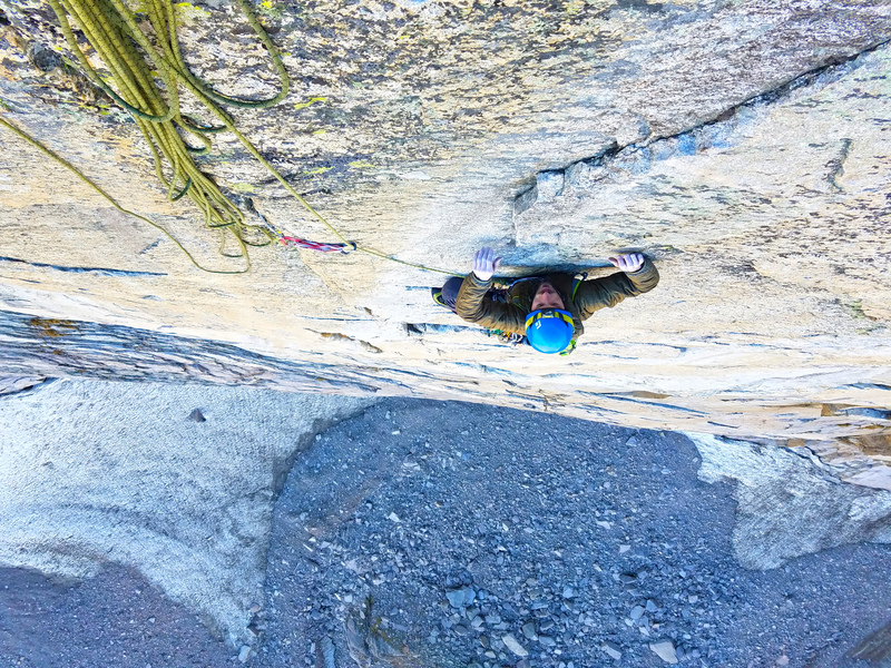 Corey Flynn near the top of P6 of the Super Direct. Perfect seams and edges on immaculately untextured granite.