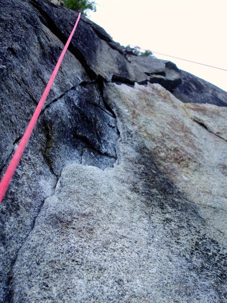 Juggy flake just above the crux. Power through to the next bolt!