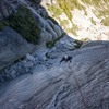 busting around the arete on P1