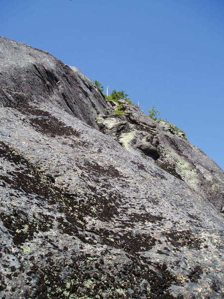 """Looking up at P1 of The Christening; a.k.a. P8 Variation to """"Night Climb"""" - at the far right end of the Great Tree Ledge, just before the path drops down to cross the """"East Face Ice Climbing"""" arera"""