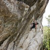 Sean sussing out the next few moves on a very empty crag day!