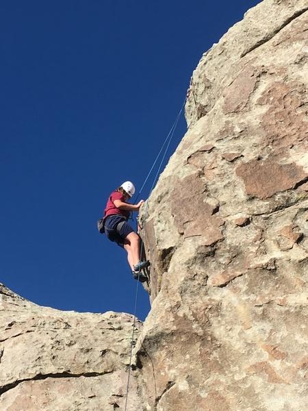 Joshua enjoying the steep section.