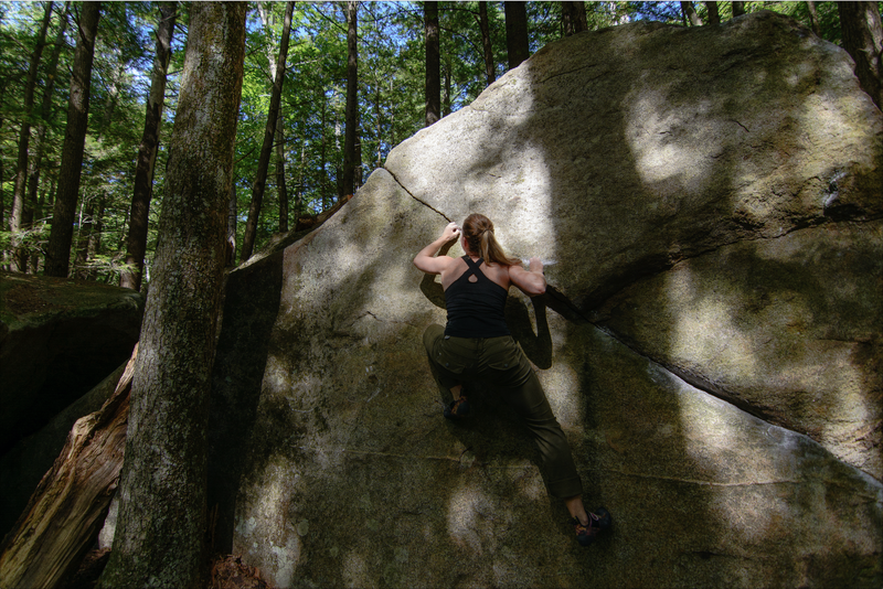 Maureen digging for a bad intermediate before the big throw to the top. Delicate feet will get you to the top.