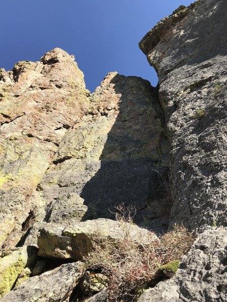 """""""The Dark Half"""" follows the right side of the shaded buttress in the middle of the photo."""