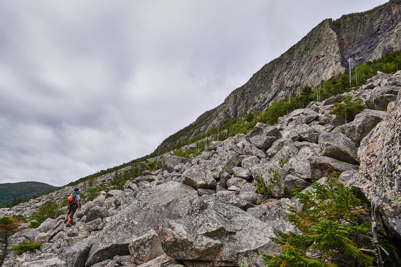 Looking up at the talus field approach to Whitney Gilman. Photo by JH.