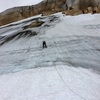 Leading the final icefield towards the summit of El Monstruo. Pic: NB