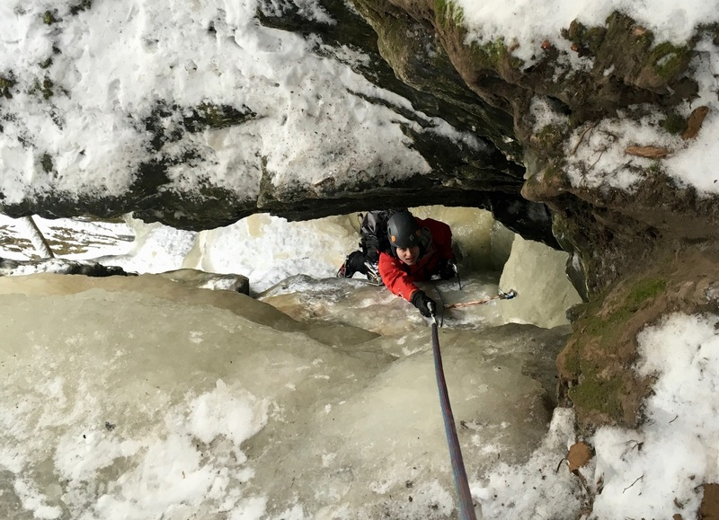 Looking down the last pitch. Ended up being a very tight squeeze, the pack had to come off!