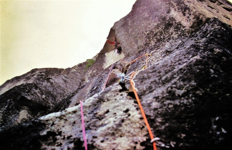 Ross having fun on the first ascent of The Prow.