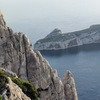 Cilmbers on Arete de Marseille (2nd or 3rd pitch). Photo taken from the descent trail.