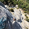 Caped baldy wrapping up the 5.9 flake on P1 of legends of the fall