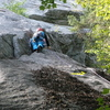 """RW on the route; arrow points to 2nd bolt;  Ralph is a bit too high, if you place pro in the """"7-Dwarves"""" crack, then think about back-cleaning it before starting up the dirt gully"""
