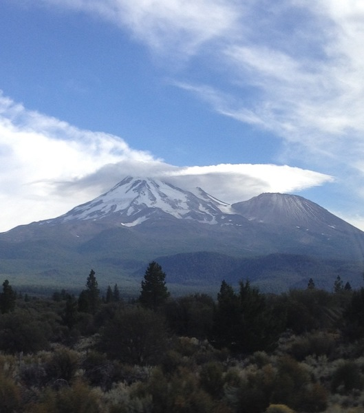 Mt Shasta with a lenticular cloud.