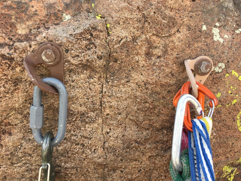 """New anchor on Tenacious, both original bolt holes were re-used and expanded for 1/2"""" stainless bolts (both bolts now have links and hooks, I hadn't installed the 2nd hook yet). Please consider donating to the BCC and/or ASCA to help fund bolt replacement!"""