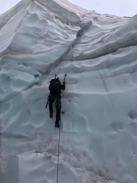 Crossing Glacier to North Ridge