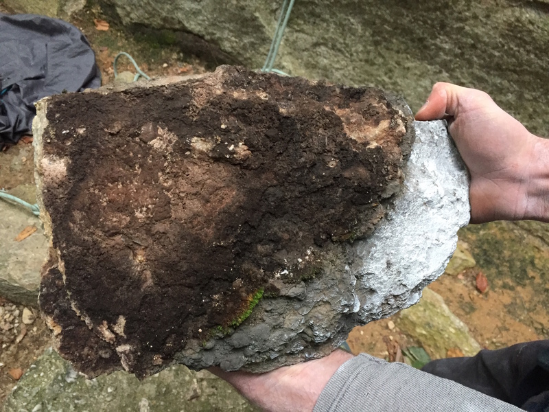 Totally rotten rock on the rest jug of Welcome to the Gunks